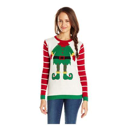 Teen in ugly christmas elf sweater
