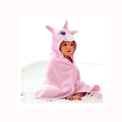 pink unicorn hooded baby towel