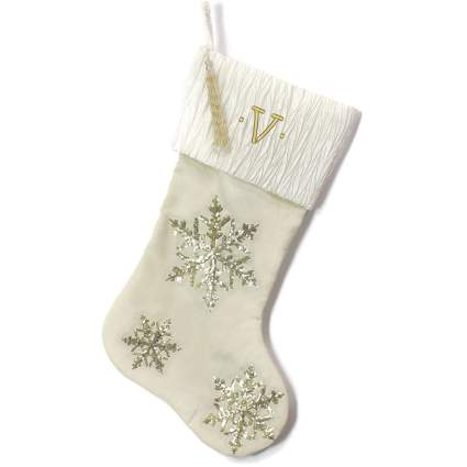 gold snowflake stocking