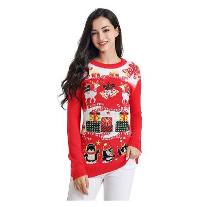 Girl in red and white christmas sweater