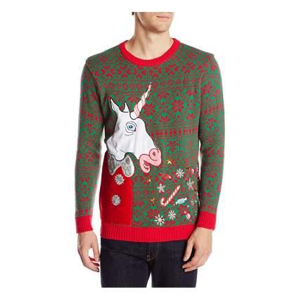 vomiting unicorn christmas sweater
