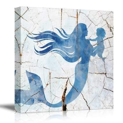blue and white mermaid wall art