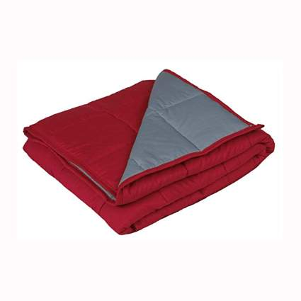 red weighted blanket with bamboo cover