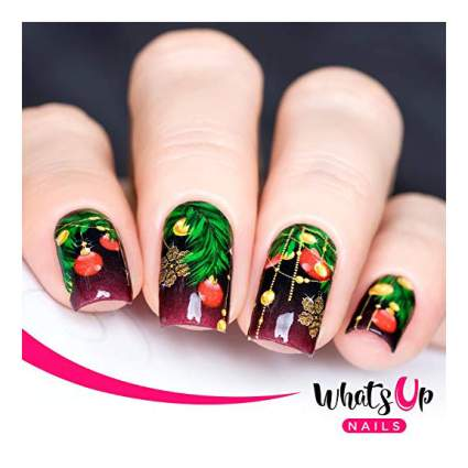 Nails with festive Christmas nail wrap