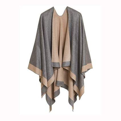 gray and tan cardigan shawl wrap