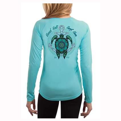 aqua long sleeve turtle mandala tee shirt