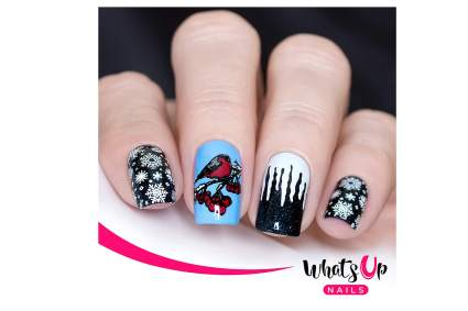 Winter stamping nail art
