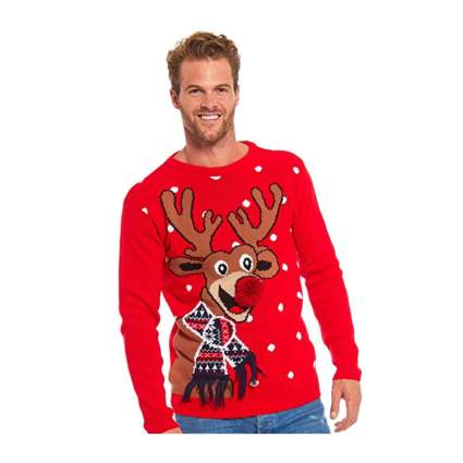 Man in red tacky christmas sweater