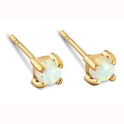 14k gold dipped opal stud earrings