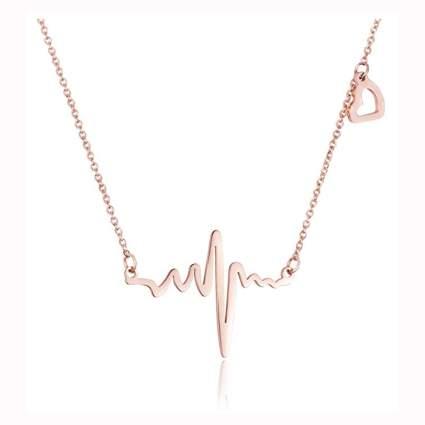 18k rose gold plated EKG necklace