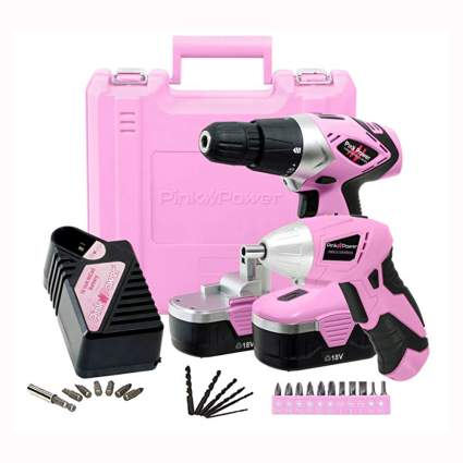 18V pink cordless drill driver set