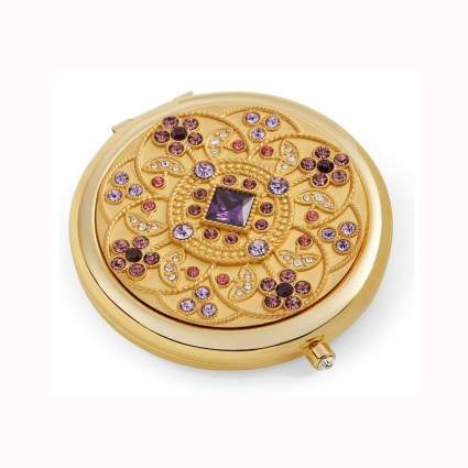 24k gold plated & crystal compact mirror