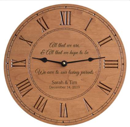 Engraved Personalized Parents of The Bride & Groom Clock