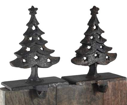 Cast Iron Christmas Stocking Holder Set