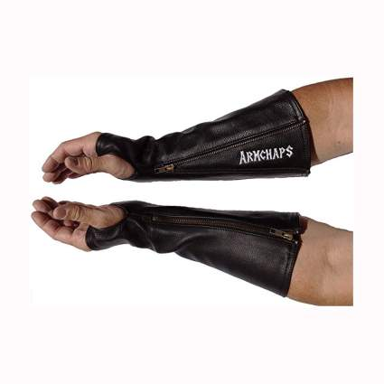 protective leather forearm sleeves