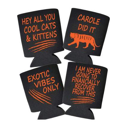 Tiger King themed beer koozies