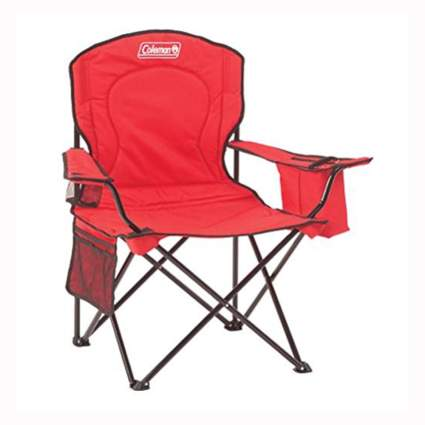 red folding camp chair with beer cooler
