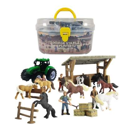 Horse stable play set with carrying case