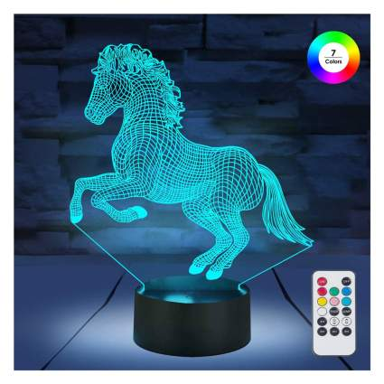 blue LED horse lamp