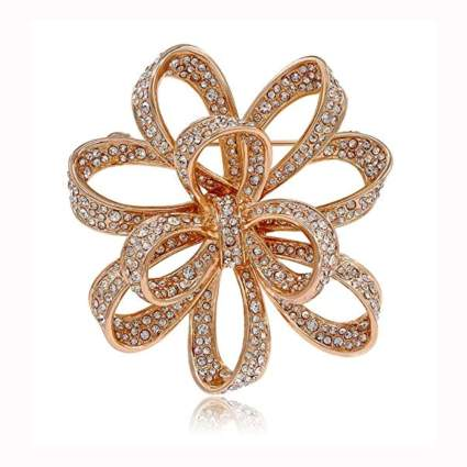 gold plated crystal knot brooch