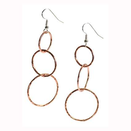 handmade copper circle dangle earrings