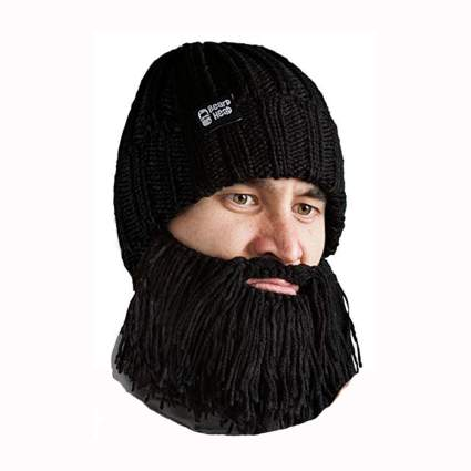 black knit beanie with attached beard