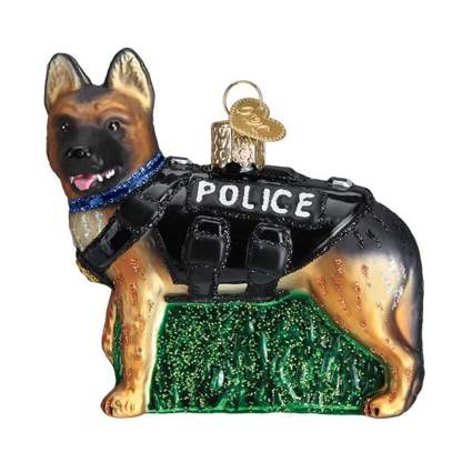 police K-9 glass ornament