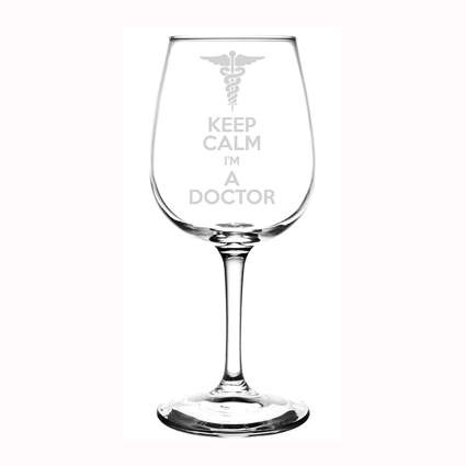 laser etched funny doctor wine glass