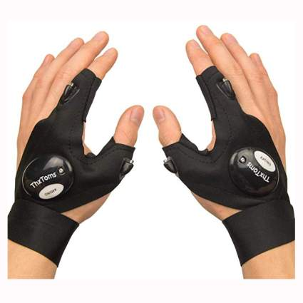 black LED lighted fingerless gloves