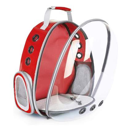 red pet backpack