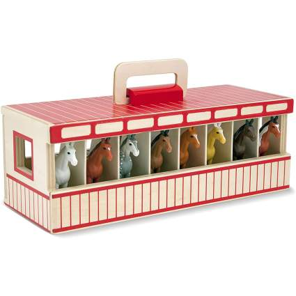 Wooden Melissa & Doug horse stable toy set