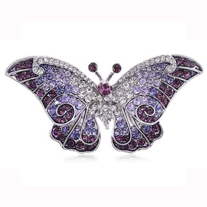 purple butterfly swarovski crystal brooch
