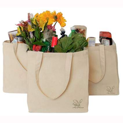 cream color organic canvas grocery bags
