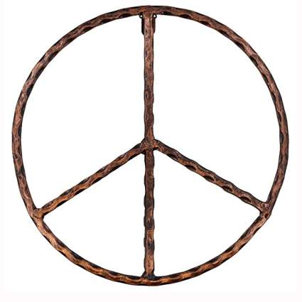 rustic copper peace sign wall decor