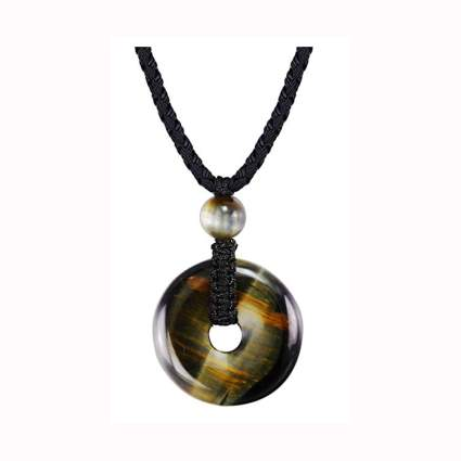 tiger eye necklace on a black cord