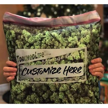 Throw pillow that looks like a bag of cannabis