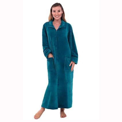 ocean blue zip front fleece robe