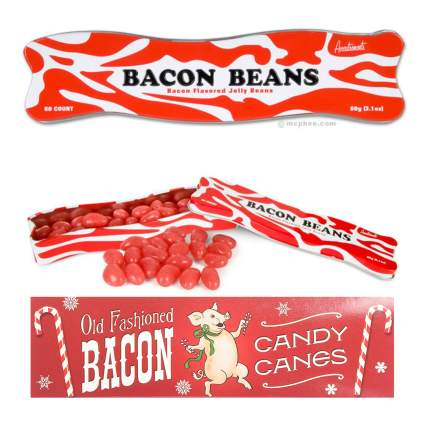 Bacon flavored jelly beans and candy canes
