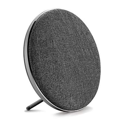 Grey round wireless speaker