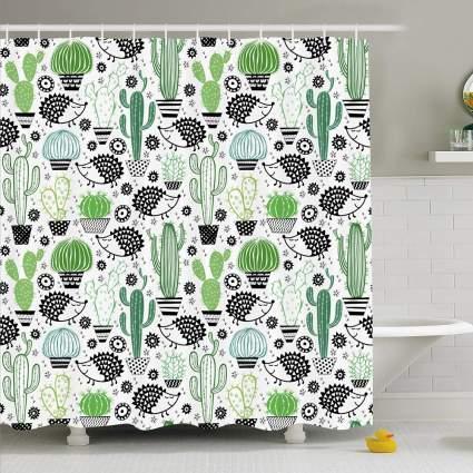 Cactus and hedgehog shower curtain