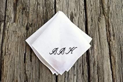 White Irish Linen Handkerchief