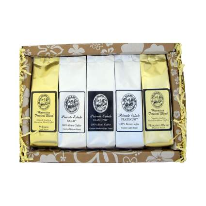 Aloha Island Coffee Deluxe Pure Kona and Hawaiian Coffee Sampler Gift