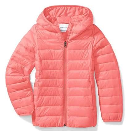Amazon Essentials Girls' Lightweight Water-Resistant Packable Hooded Puffer Jacket