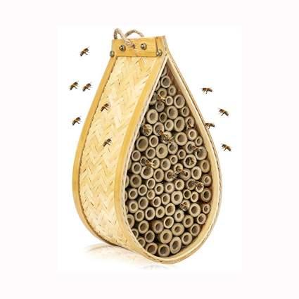 Handmade bamboo mason bee house