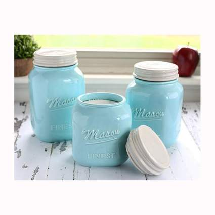light blue mason jar ceramic canisters