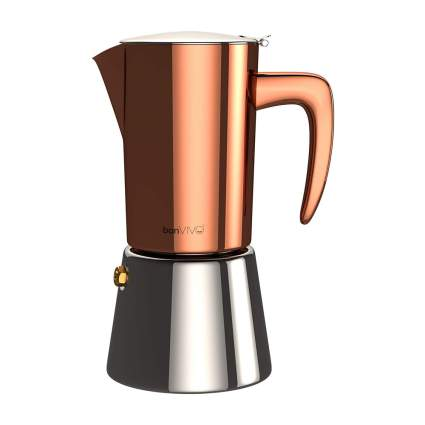 Bronze and chrome moka pot