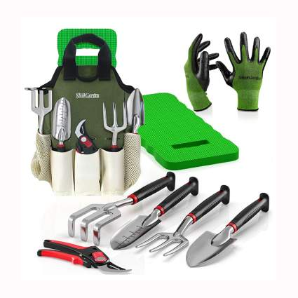 8 piece garden tool set with kneeler
