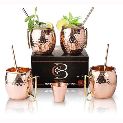 copper moscow mule mug cocktail set