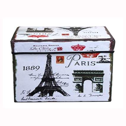 Paris themed foldable fabric storage bins