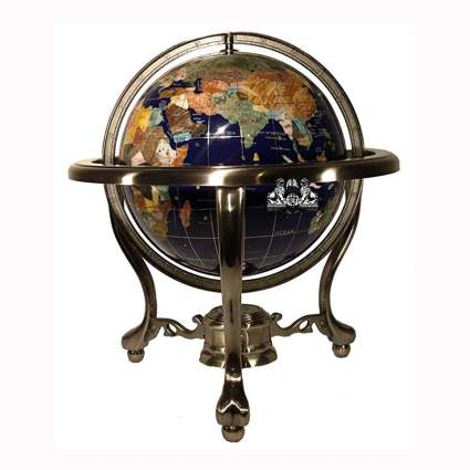 gemstone globe in antiqued silver stand